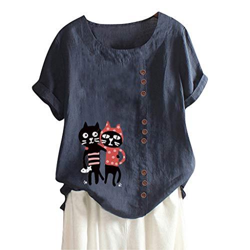 Alwayswin Frauen Beiläufige Leinen T-Shirt Damen Baumwoll Tunika Oberseiten Druck Boho Tanic Hemd Blusen Oberseiten Lose Kurzarm T-Shirt Einfarbig Lässige T-Shirt Blouse Tank Top