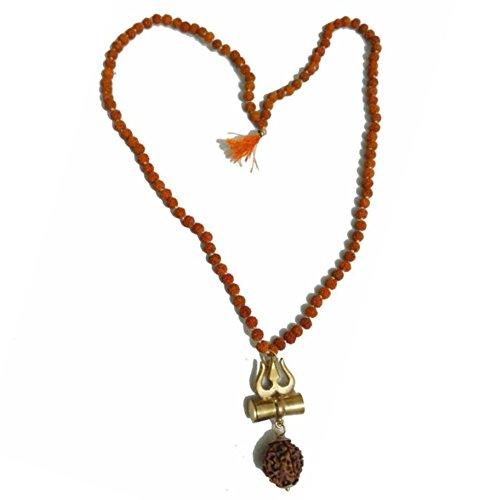 Malabar Gems Shiv Shakti Kavach - 5 Mukhi Rudraksha Trishul Damru (Damaru) Locket / Pendant with 5 mukhi Rudraksha Mala