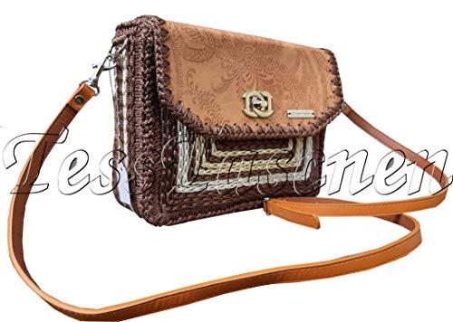 Gestickte Messenger Tasche (Damen Handtaschen Kleine braune Umhängetasche Camel Crossbody Taschen Damen Prägung auf dem Leder Gestickte Tasche)