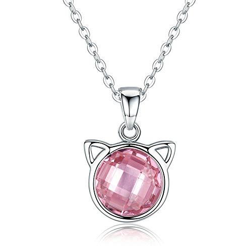 LVYE1 Rosa Katze Halskette 925 Sterling Silber Halskette Zirkonia Plating Weißgold Feiertagsgeschenk Für Frauen Für ()