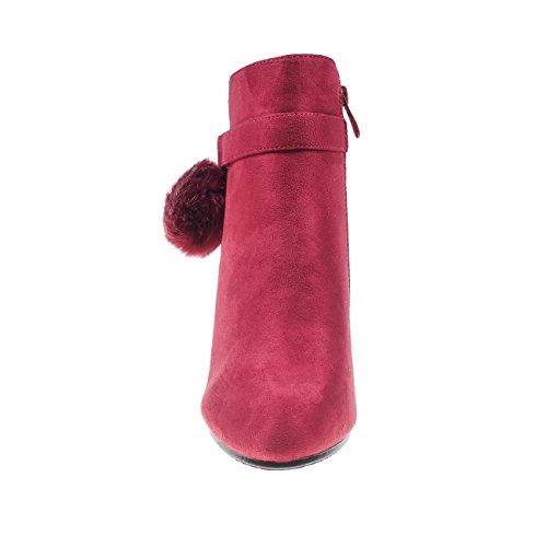 5186 Fashion4Young Elegante Damen Stiefel Stiefelette Ankle Boots Lederimitat Reissverschluss Rot