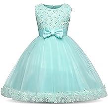 NNJXD Vestidos de Fiesta de la Boda de la Princesa de la Flor del Bowknot para