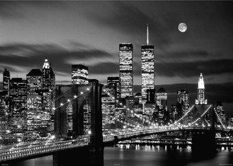 Camden Town Poster Company New York City The World Trade Center Twin Towers Brooklyn Bridge Stadtbild Papier Poster Maßnahmen 91,4x 61cm (91,5x 61cm) - Twin Towers, Brooklyn Bridge