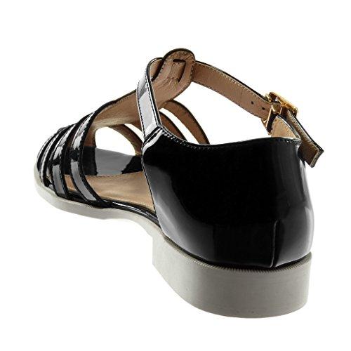 Angkorly Scarpe Moda Sandali con Cinturino Alla Caviglia Gladiatore Donna Verniciato Fibbia D'Oro Tacco a Blocco 2 cm Nero