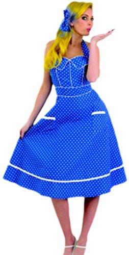 S 1920 Kostüm Cabaret - erdbeerloft - Damen 50er Jahre Petticoat Kostüm mit Haarklammer, S, Blau