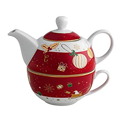 Brandani 53026Théière avec tasse Alleluia porcelaine rouge Noël Noël