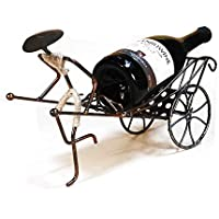 CN Inicio Elegantes Regalos Creativo Rickshaw Vino Rack De Vino Retro Hierro Estante del Vino Decoración del Hogar,Color Antiguo,1