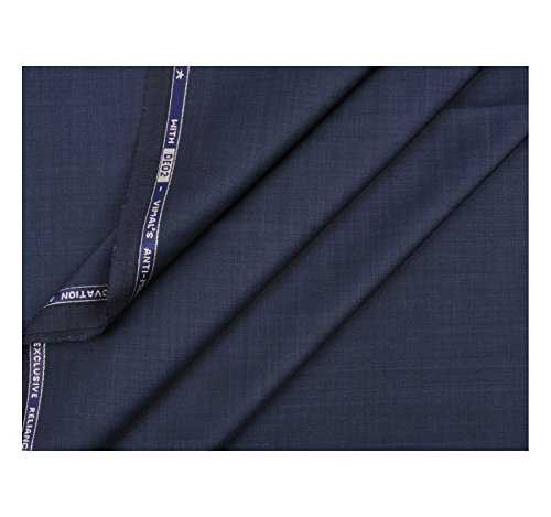 VIMAL Men's 1.3 m Polyester Unstitched Trouser Fabric (Blue, Free Size)