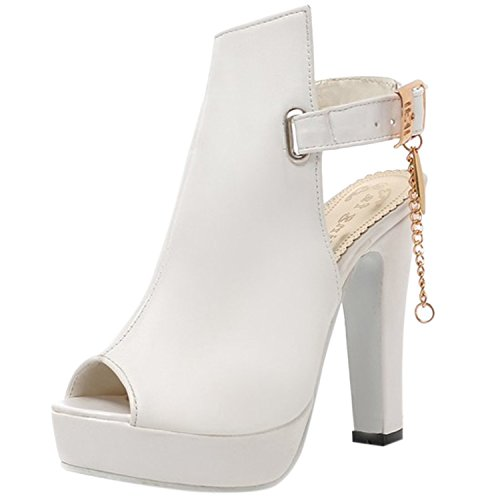 Oasap Women's Peep Toe Platform Slingback High Heels Sandals white
