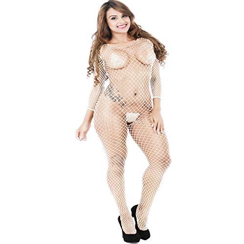 LMRYJQ Frauen Sexy Dessous Netzstrumpf Crotchless Babydoll Bodysuits -