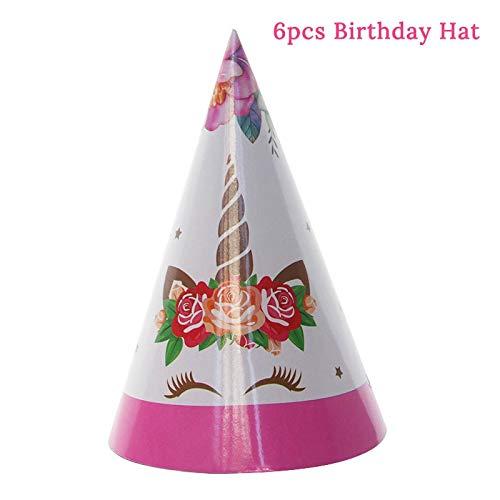 Einhorn Party Geschirr Set Papier Dessert Kuchen Platten Geburtstag Tischdecke Dekoration Babyshower Unicorn Geburtstagsfeier Lieferant, 6Pcs Papier Hut (Lieferanten Hut Dekorationen)