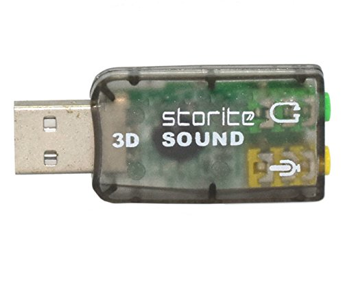 Storite USB 2.0 External Virtual 5.1 Channel 3D Audio Sound Card Mic adapter for Laptop PC (Plug and Play)