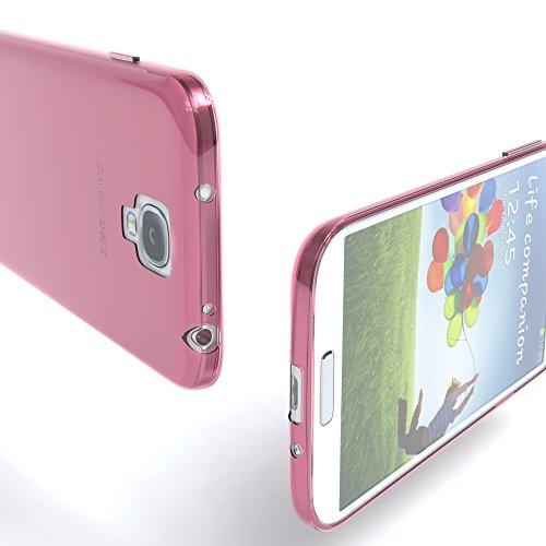 Samsung Galaxy S4 / S4 Neo Hülle - EAZY CASE Ultra Slim Cover TPU Handyhülle Matt - dünne Schutzhülle aus Silikon in Dunkelblau Clear Rosa