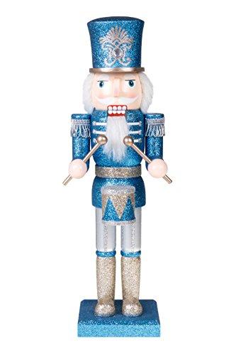 Clever Creations - Traditioneller Nussknacker-Soldat mit Trommel - die Perfekte Ergänzung für Jede Sammlung - Festliche Weihnachtsdeko - 100{05aa3722072c3ae318a3fab7d8eee754e2763e5f67fefeed1880c96a3e2a3c3c} Holz - Blauer und silberfarbener Glitzer - 35,6 cm