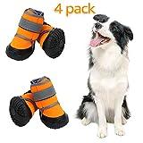 Zeraty Zapatos para Perros Botas para Mascotas Zapatillas para Perros medianos más Grandes con Velcro Reflectante Ajustable Suela Antideslizante Resistente Naranja 4PCS