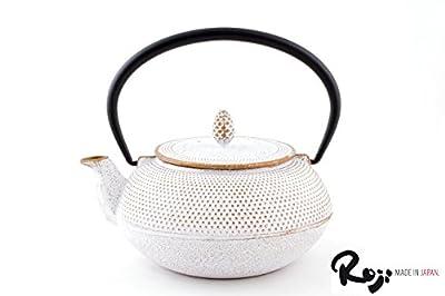 teayumi Japan Roji Théière en Fonte Arare Blanc/doré 0,6 l