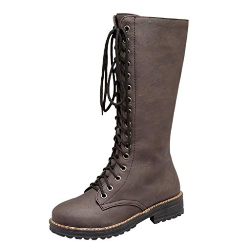 Sanahy Damen Stiefel, Damen Mode Roman Ankle Booties Leder Ritter Stiefel Casual Schnürstiefel Cowboy Winterschuhe - Cowboys Holzkohle