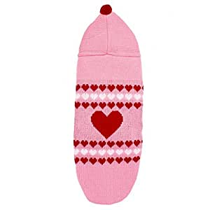 Animaux Coeur Imprimer Tricots capuche Apparel Pull Rose Rouge M