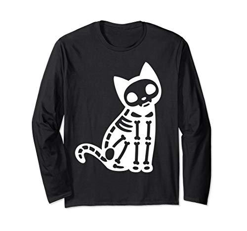 Katze Skelett Kostüm - Skelett Katze Halloween Kostüm Langarmshirt