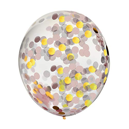 Konfetti Luftballons rosa und gold 45,7cm, 10Stück, für Spaß Events, Geburtstage, Party, Hochzeiten, Verlobungen, Graduierung, Urlaub und mehr.