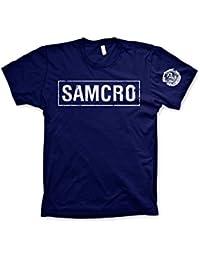 Officiellement Marchandises Sous Licence SAMCRO Distressed T-Shirt (Bleu Marine)