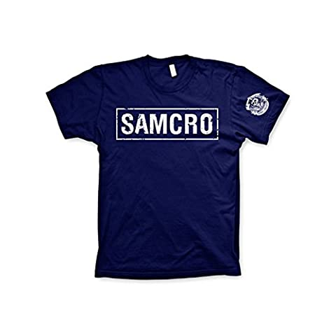 Officially Licensed Merchandise SAMCRO Distressed T-Shirt (Navy), Large