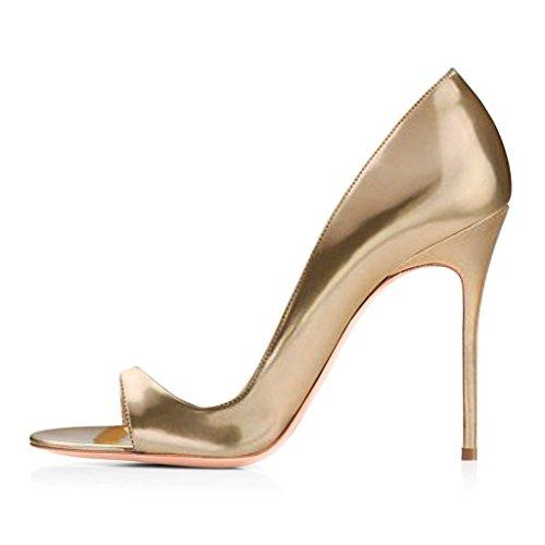 ELASHE - Scarpe da Donna - 12CM Peep Toe Sandali - Tacco a Spillo - Classiche Scarpe col Tacco Oro EU39