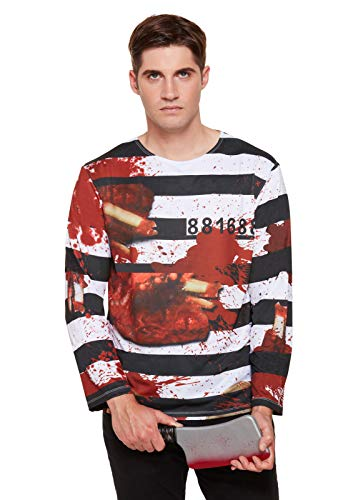 Adults Zombie Prisoner Striped T-Shirt Halloween Horror Mens Fancy Dress - Original-halloween-kostüm-themen