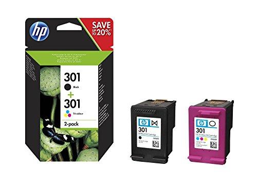 HP 301 Pack de 2 Cartouches - 1 d'Encre Noir et 1 de Trois Couleurs (Cartouche Cyan, Magenta, Jaune) Authentiques (N9J72AE)