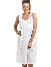 Chemise de nuit - longueur genou/sans manches/douce/confortable - à fleurs - bleu