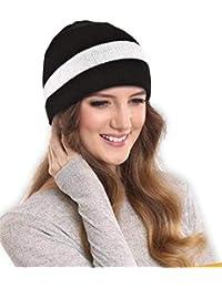 DRUNKEN Women's Winter Cap Striped Warm Woollen Beanie Cap Black Free Size