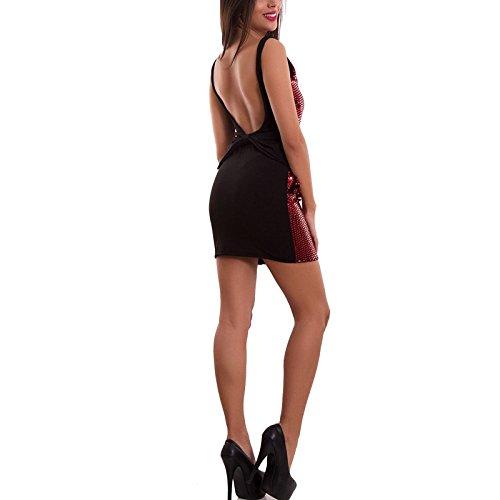 Vestito donna miniabito tubino ruches lustrini fiocco schiena nuda nuovo AS-9031-1 Nero/Rosso