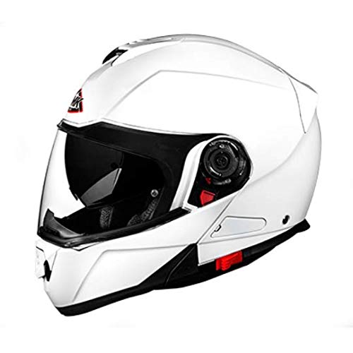 SMK GLIDE UNICOLOUR GL100 WHITE CLEAR VISOR PINLOCK FITTED FULL FACE, SIZE - XL/610MM
