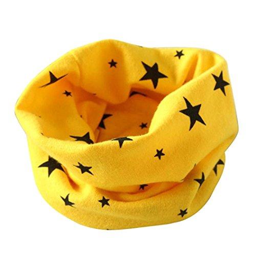 ❤️Winterstern Halstuch, Kobay Herbst Winter Jungen-Mädchen-Kragen Baby Schal Baumwolle O-Ring Hals Schals (Für 2-10 Jahre alt, Gelb)