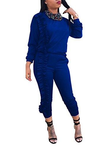 Voghtic Damen Stilvolle Langarm Rüsche Saum Splicing Solid Color 2 Stück Outfits Overall