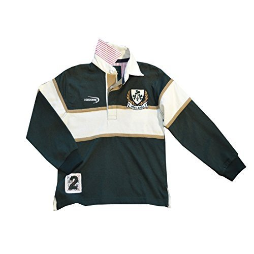 Irland Kleeblatt langärmlig Kinder Rugby Hemd - Grün, 9-10 Years