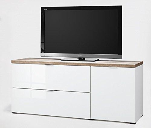 CS Schmalmöbel 45.012.505/020 TV-Board Cleo Typ 14, 163 x 50 x 67 cm, weiß/wildeiche / weißglas - 2