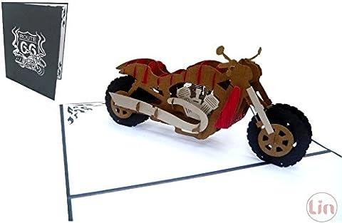 Lin de Pop up 3D Cartes de vœux Moto, cartes de vœux Anniversaire Cartes cartes cadeaux Moto (Grande)