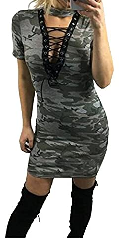 ALAIX Sexy Womens Bandage Deep V Neck Skirt Halter Camouflage Slim Cocktail Mini Dress Camouflage2-S