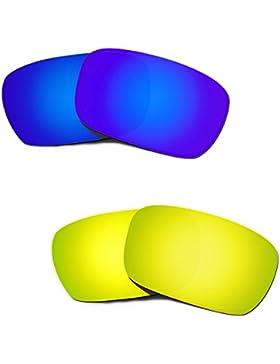 Hkuco Mens Replacement Lenses For Oakley Jury Blue/24K Gold Sunglasses