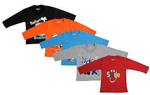 Kuchipoo Unisex Cotton T-Shirts (Multicolour, 1-2 Years) - Pack of 5
