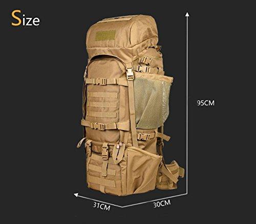 125L Rucksäcke Outdoor Hohe Kapazität Bergsteigen Reisetasche für Männer und Frauen Rucksack Militärische Tactical Schulterriemen Wolfbraun