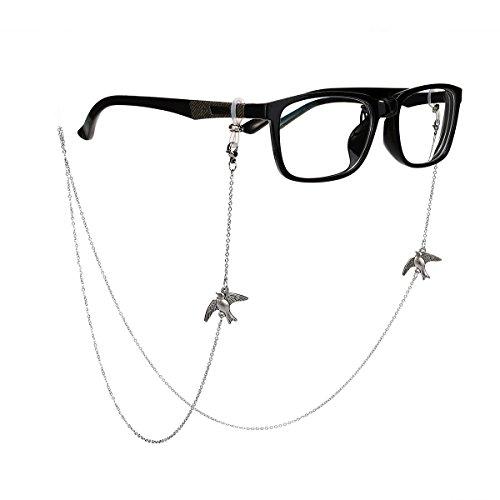 Tinksky Bronze Gläser Kette mit Vogel Brille Schnur Strap Sunglass Holder Lanyard Brillen Halter Sonnenbrille Hals Cord Strap (Silber)