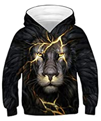 Idea Regalo - ALISISTER 3D Felpe con Cappuccio Bambini Ragazzi Ragazze Fantastico Leone Nero Hooded Sweatshirt Sport Sport Outdoor Hoodies Wear Top M