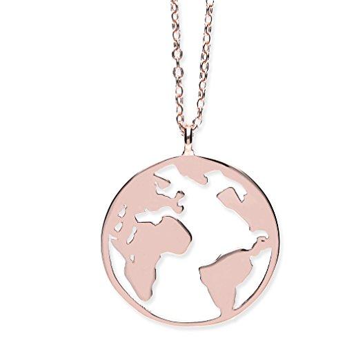 URBANHELDEN Damen-Kette mit Weltkarten Anhänger - Hals Kette World Amulett aus 925er Sterlingsilber - Rosegold (Damen Kette Rose Gold)