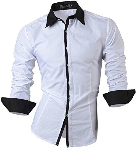 jeansian Herren Freizeit Hemden Shirt Tops Mode Langarmlig Men's Casual Dress Slim Fit Z029 1073_White