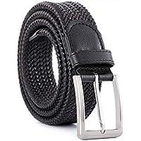TINERS Lienzo Tejido Cinturón Hombres Y Mujeres Informal Salvaje Tejido Elástico Tejido Elástico Pin Hebilla Cinturón,Black