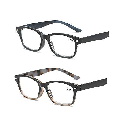 Admier (2 Packs) Retro Lesebrille entfernt Presbyopie Brillen Feder Scharnier Schildpatt Brille Leser Männer Frauen Brillen zum Lesen,+2.00