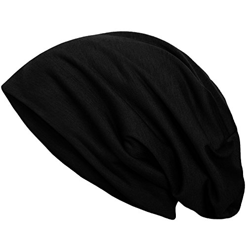style3 Slouch Beanie aus atmungsaktivem, feinem und leichten Jersey Unisex Mütze, Farbe:Schwarz - 2