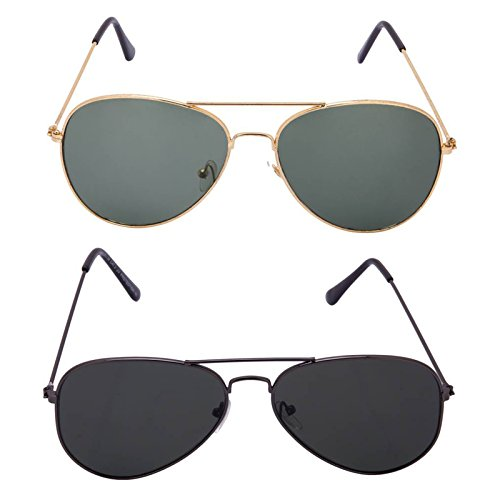 XLNC Stylish Unisex Green Black Aviator Combos of 2 pack
